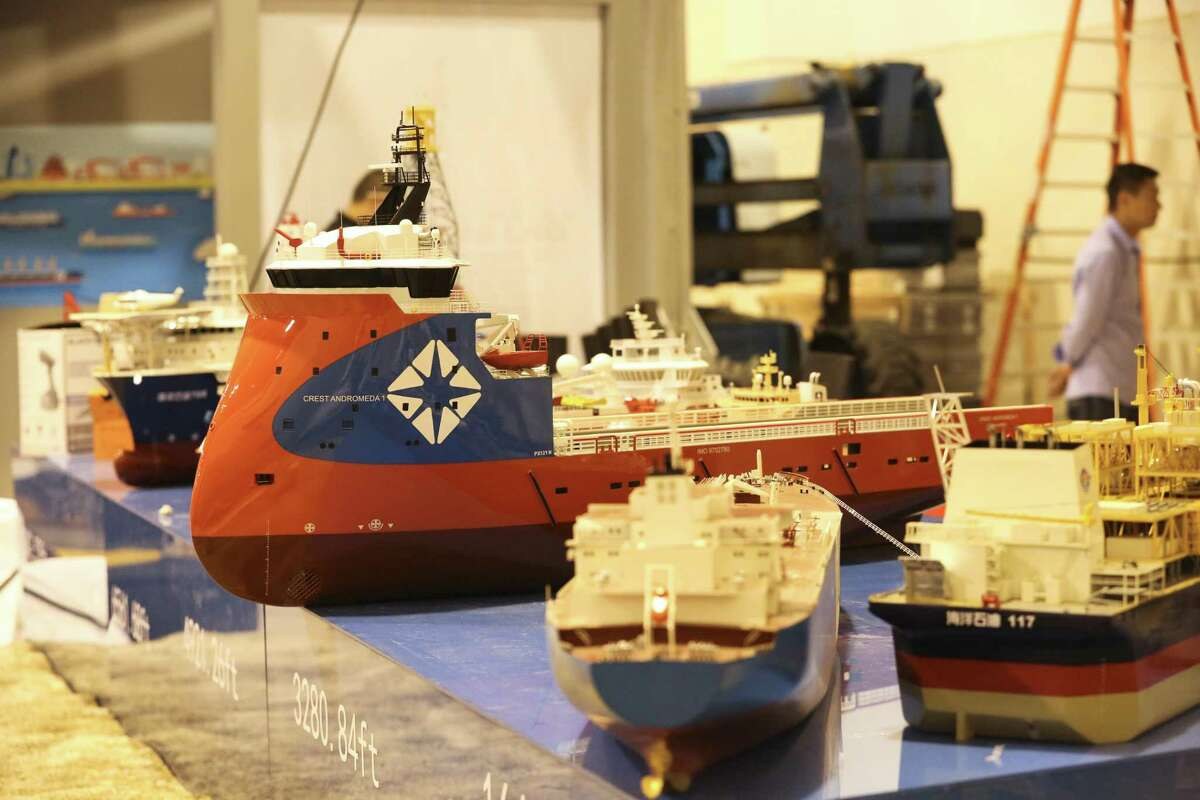 China State Shipbuilding Corporation has different vessels on exhibition for next week's Offshore Technology Conference at NRG Center on Thursday, April 26, 2018, in Houston. The 50th OTC show will run from April 30 to May 3. ( Yi-Chin Lee / Houston Chronicle )