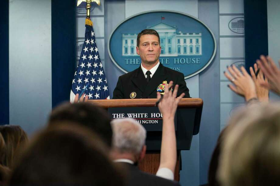 FILE -- Dr. Ronny Jackson speaks to reporters at the White House on Jan. 16, 2018. The White House withdrew his nomination to become the next Veterans Affairs secretary on April 26, 2018. (Doug Mills/The New York Times) Photo: DOUG MILLS / NYTNS