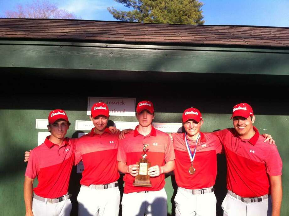 The Greenwich golf team gathers after winning the Brunswick Invitational on Thursday. Photo: David Fierro / Hearst Connecticut Media