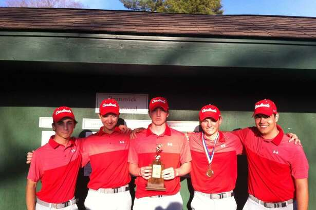 The Greenwich golf team gathers after winning the Brunswick Invitational on Thursday.