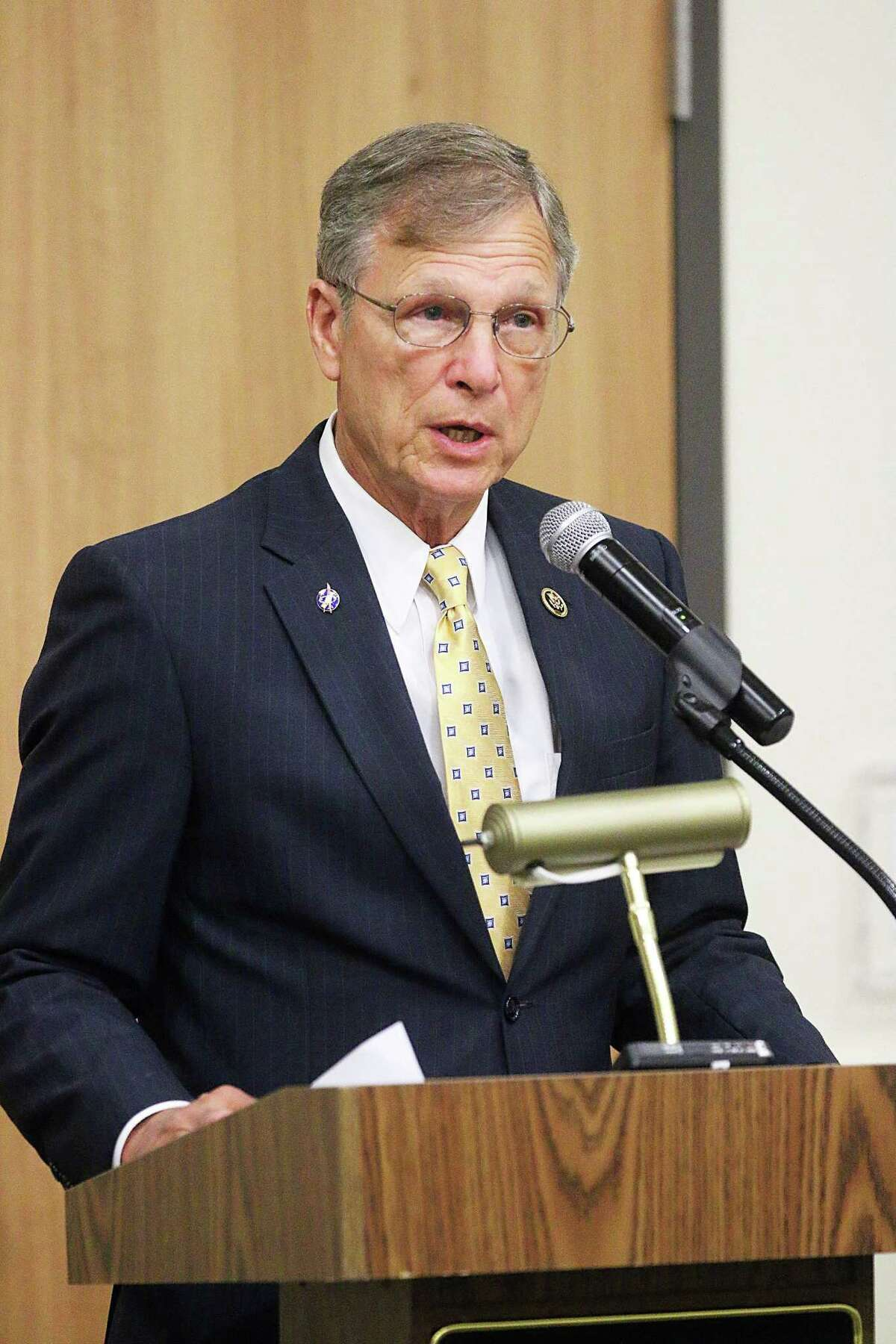 Congressman Dr. Brian Babin, R-Woodville, spoke to the Dayton Rotary Club recently at the Dayton Community Center. He is an Air Force veteran.