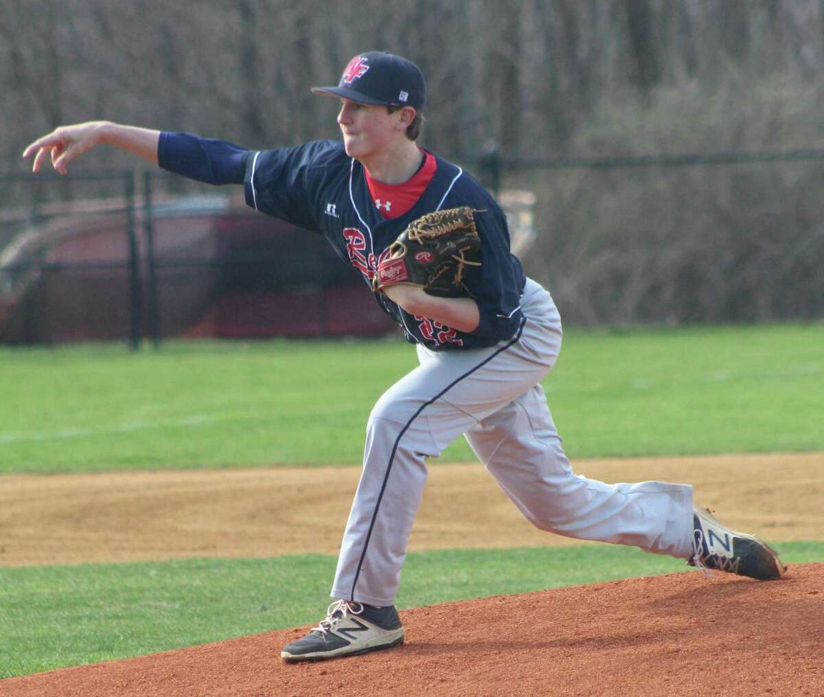 New Fairfield's Jake Smith pitched a complete game in the baseball game against Masuk at New Fairfield High School April 26, 2018.
