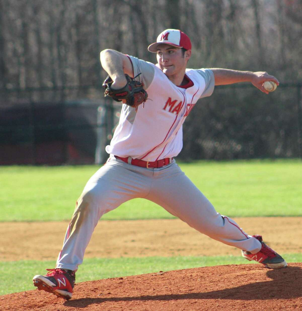 Masuk pitcher Mike Marella took a no-hitter into the fifth inning of the baseball game against New Fairfield at New Fairfield High School April 26, 2018.
