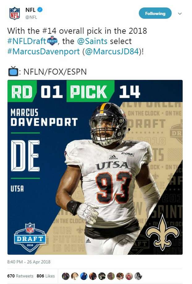 The Saints traded up to the 14th pick overall and chose UTSA's Marcus Davenport. Photo: Twitter