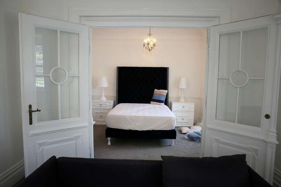 A bedroom in the Archbishop's Mansion, which will rent 19 rooms to digital nomads. Photo: Lea Suzuki / The Chronicle