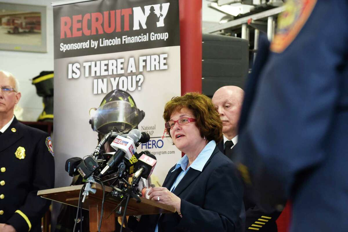 State Senator Kathleen Marchione addresses those gathered during an event to announce the eighth annual RecruitNY statewide firefighter recruitment initiative at the Fuller Road Fire Department on Thursday, April 26, 2018, in Colonie, N.Y. (Paul Buckowski/Times Union)