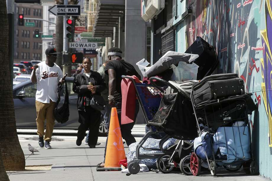 A small homeless encampment camp near the corner of 6th and Howard streets on Mon. April 23, 2018, in San Francisco, Calif.  Photo: Michael Macor / The Chronicle
