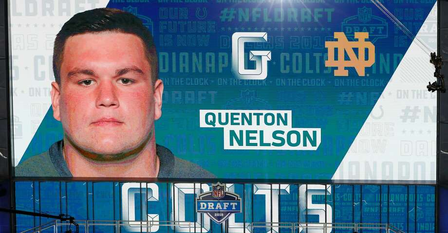ARLINGTON, TX - APRIL 26:  A video board displays an image of Quenton Nelson of Notre Dame after he was picked #6 overall by the Indianapolis Colts during the first round of the 2018 NFL Draft at AT&T Stadium on April 26, 2018 in Arlington, Texas.  (Photo by Tim Warner/Getty Images) Photo: Tim Warner/Getty Images
