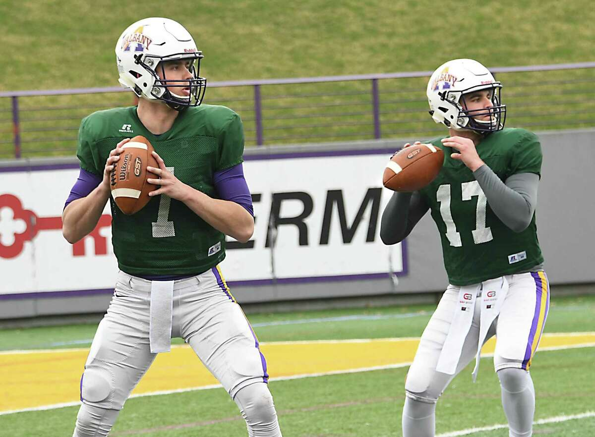 University at Albany quarterbacks Will Brunson, left, and Vincent Testaverde practices with the football team on Thursday April 26, 2018 in Albany, N.Y. (Lori Van Buren/Times Union)