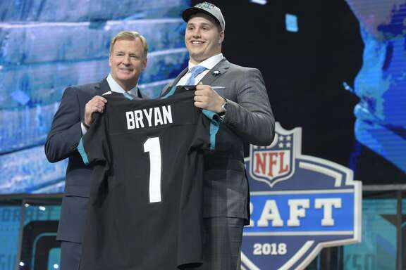 The Jacksonville Jaguars select Florida defensive tackle Taven Bryan 29th overall during the NFL Draft at AT&T Stadium in Arlington, Texas, on Thursday, April 26, 2018. (Max Faulkner/Fort Worth Star-Telegram/TNS)