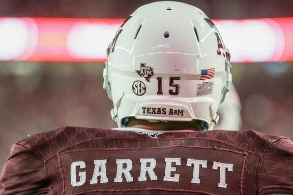 COLLEGE STATION, TX - NOVEMBER 12: Myles Garrett #15 of the Texas A&M Aggies during warm ups before playing the Mississippi Rebels at Kyle Field on November 12, 2016 in College Station, Texas.  (Photo by Bob Levey/Getty Images)