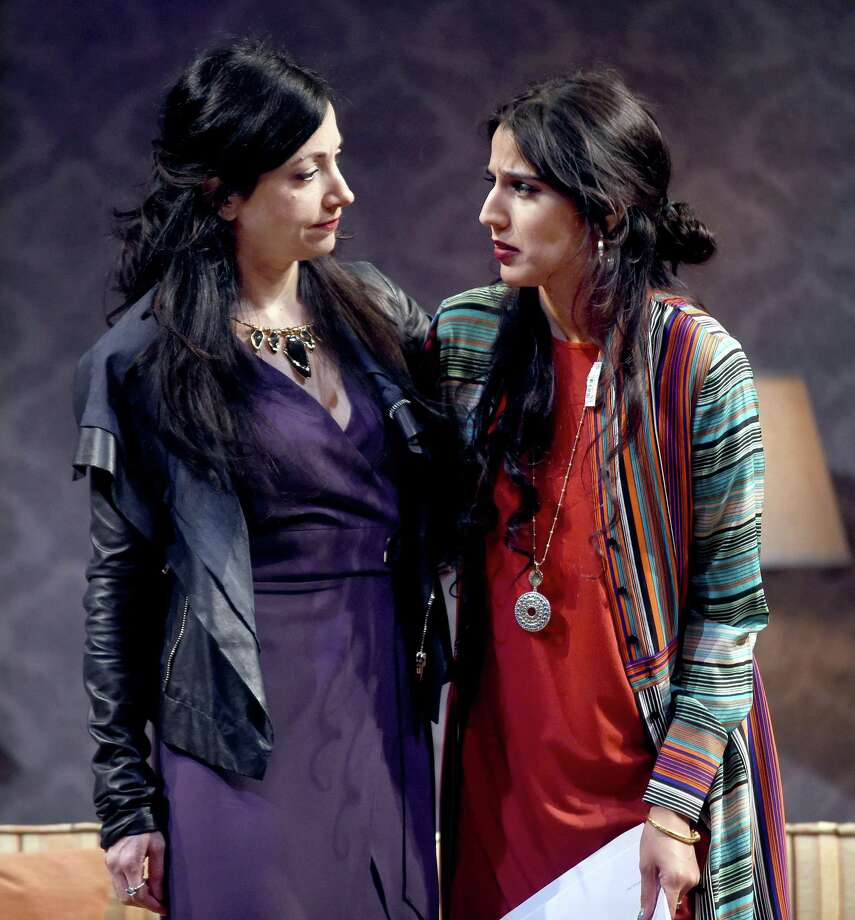 "Hend Ayoub (left) as Bana and Sohina Sidhu as Hodeel rehearse a scene in a tech rehearsal of ""Kiss"" at the Yale Repertory Theatre in New Haven. Photo: Arnold Gold / Hearst Connecticut Media / New Haven Register"