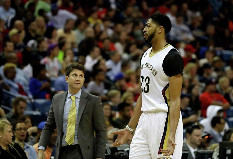 Associate head coach Darren Erman talks with Anthony Davis #23 of the New Orleans Pelicans during the second half of a game against the LA Clippers at the Smoothie King Center on December 28, 2016 in New Orleans, Louisiana. New Orleans won the game 102-98. Photo: Sean Gardner / Getty Images / 2016 Sean Gardner