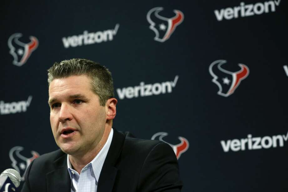 Houston Texans general manager Brian Gaine speaks during his introductory news conference on Wednesday, Jan. 17, 2018, in Houston. Gaine replaces longtime general manager Rick Smith. (Brett Coomer/Houston Chronicle via AP) Photo: Brett Coomer/Associated Press