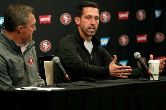 San Francisco 49ers' general manager John Lynch, (left) and head coach Kyle Shanahan hold the final press conference of the season at Levi's Stadium in Santa Clara, on Tues. January 2, 2018.