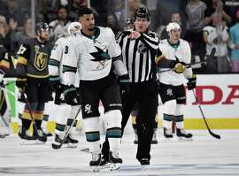 LAS VEGAS, NV - APRIL 26: Evander Kane #9 of the San Jose Sharks is ejected for cross checking during the third period against the Vegas Golden Knights in Game One of the Western Conference Second Round during the 2018 NHL Stanley Cup Playoffs at T-Mobile Arena on April 26, 2018 in Las Vegas, Nevada. (Photo by Jeff Bottari/NHLI via Getty Images)
