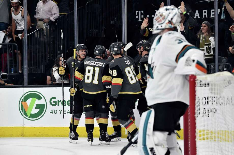 LAS VEGAS, NV - APRIL 26:   Alex Tuch #89 of the Vegas Golden Knights celebrates with teammates after scoring a goal during the first period against the San Jose Sharks in Game One of the Western Conference Second Round during the 2018 NHL Stanley Cup Playoffs at T-Mobile Arena on April 26, 2018 in Las Vegas, Nevada.  (Photo by Jeff Bottari/NHLI via Getty Images) Photo: Jeff Bottari / NHLI Via Getty Images / 2018 NHLI