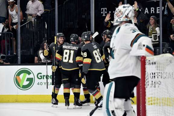 LAS VEGAS, NV - APRIL 26:   Alex Tuch #89 of the Vegas Golden Knights celebrates with teammates after scoring a goal during the first period against the San Jose Sharks in Game One of the Western Conference Second Round during the 2018 NHL Stanley Cup Playoffs at T-Mobile Arena on April 26, 2018 in Las Vegas, Nevada.  (Photo by Jeff Bottari/NHLI via Getty Images)