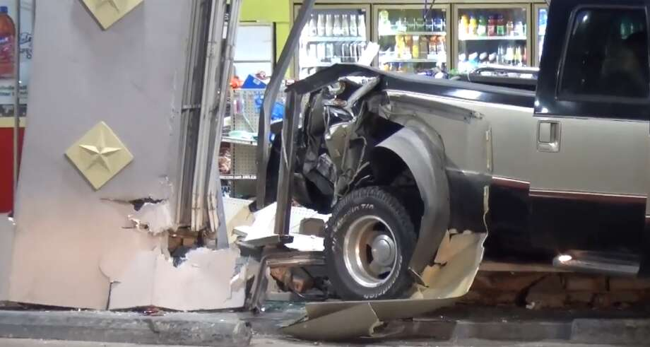 A truck rammed into a convenience store on Broadway and the South Loop on Friday morning, April 27, 2018. Photo: Metro Video