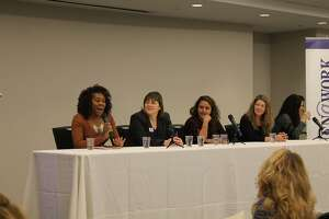 "Panelists from the Women@Work March 8 event titled ""Your Financial Future."" (Photo by Shelby Wadsworth)"
