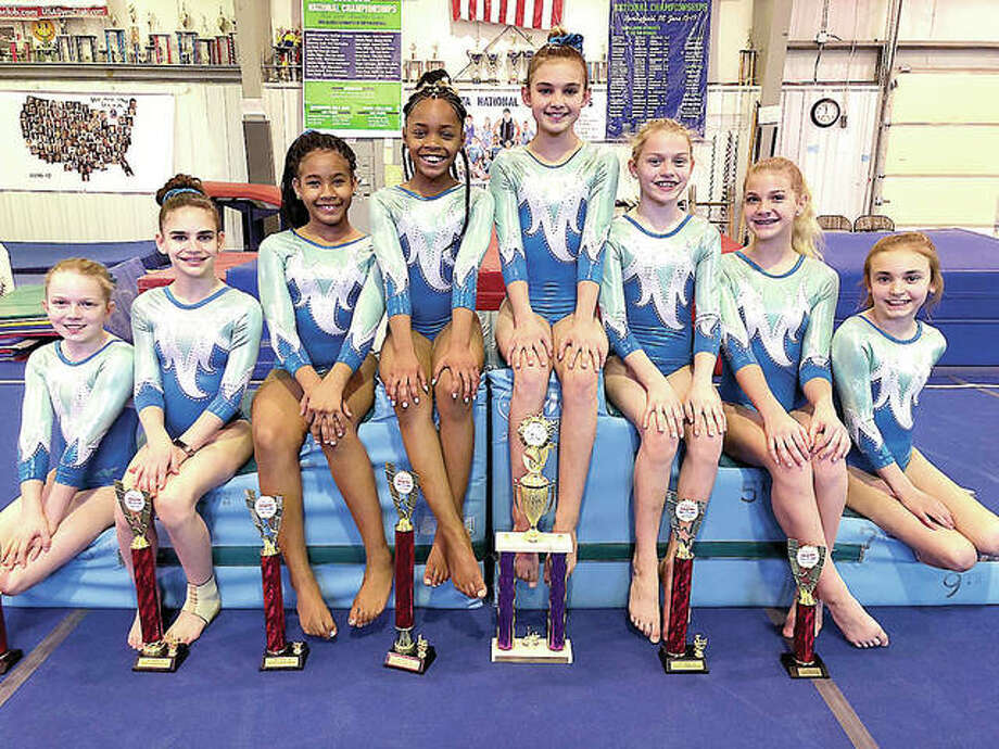 Mid Illinois gymnasts who turned in strong performances at the recent state meet in Pana included, from left: Josie Winter, Allison Wooden, SerRiiah Jones,Jaylee Evans, Allison Jennings, Caroline Cain, Sophie Rose and Madison Honke. Photo:       Submitted Photo