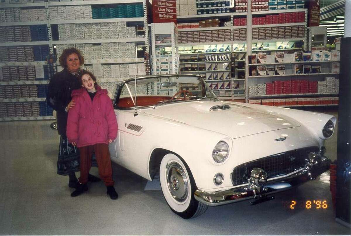 1. I won a 1956 Thunderbird convertible from an Office Depot when I was 10. I registered each member of my family's name in an Enter to Win box and my mom's name won. My mom says she won the car.