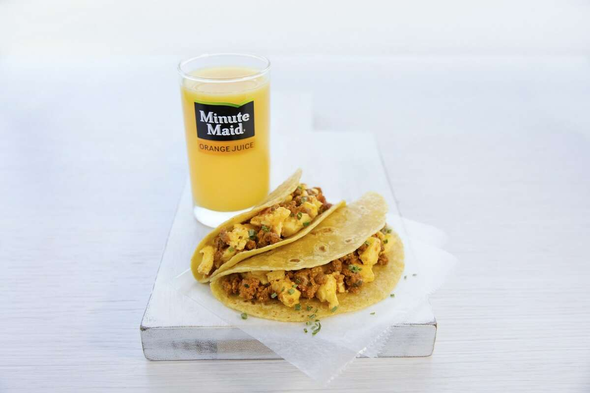 Egg and chicken chorizo tacos will be on the breakfast menu starting May 1 aboard United Airlines flights.