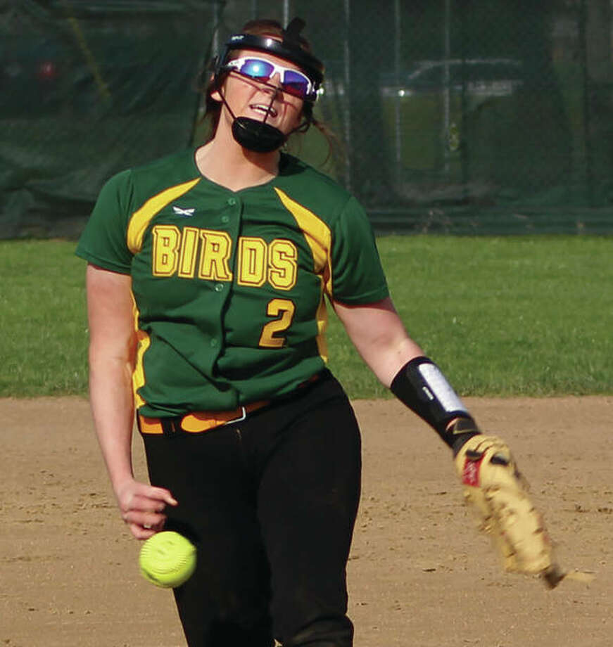 Southwestern pitcher Sydney Baumgartner fires a pitch to the plate during the Piasa Birds' 25-0 three-inning softball victory over Metro East Lutheran in Edwardsville. The Birds have won 11 in a row while pushing their record to 15-4. Photo:       Greg Shashack / For The Telegraph