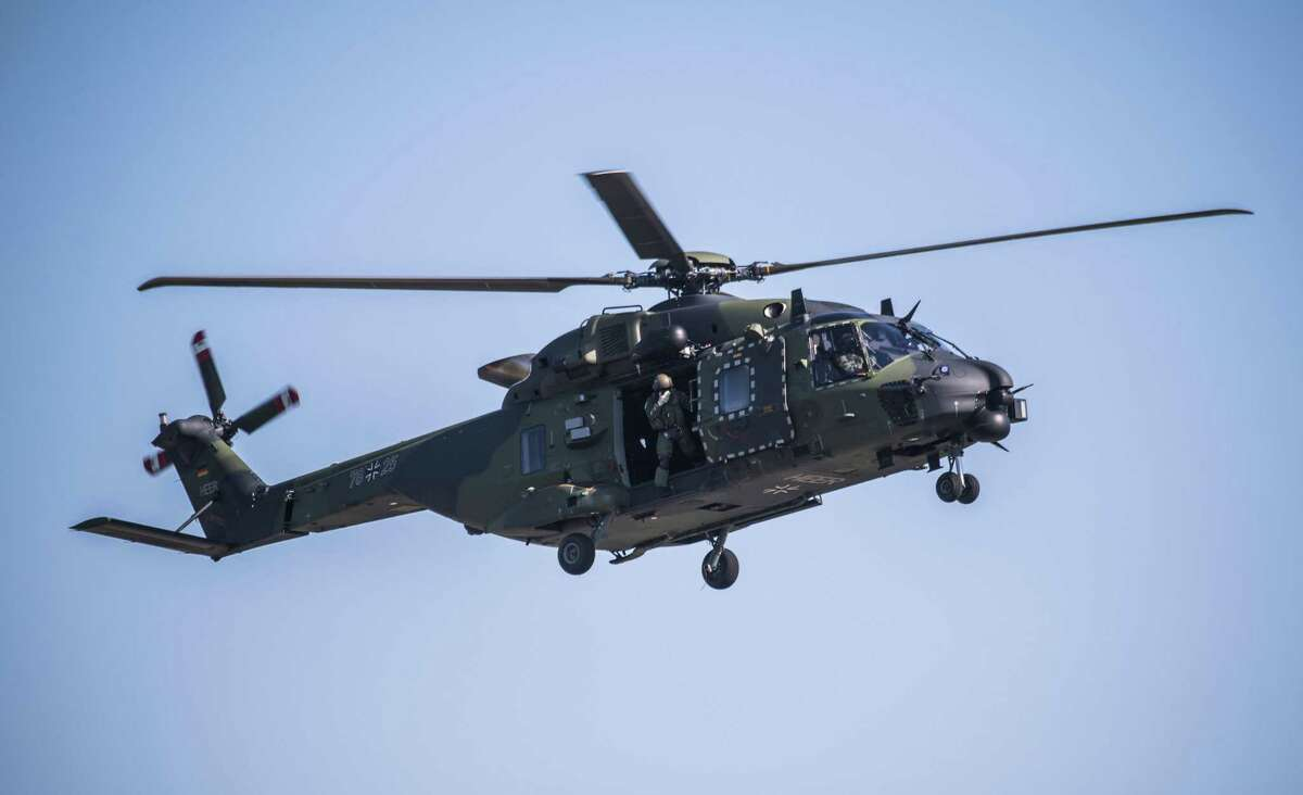 A Sikorsky CH-53K King Stallion heavy-lift cargo helicopter is on show at the ILA Berlin International Aerospace Exhibition at Schoenefeld airport near Berlin on April 25, 2018. Stratford-based Sikorsky generated nearly 40 percent of its business from overseas in 2016.