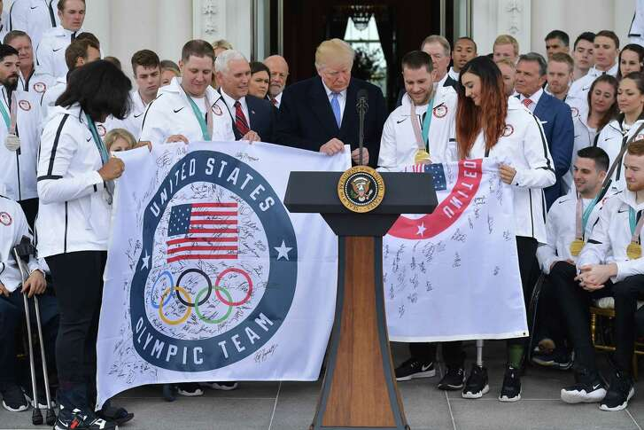 US President Donald Trump speaks during an event honoring the US Olympic team in the North Portico of the White House on April 27, 2018 in Washington, DC. / AFP PHOTO / MANDEL NGANMANDEL NGAN/AFP/Getty Images