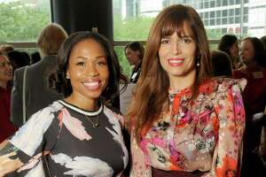 Roslyn Bazzelle Mitchell and Karina Barbieri at the 21st annual Table Talk Luncheon at the Hilton Americas Hotel Wednesday March 28,2018. (Dave Rossman Photo)