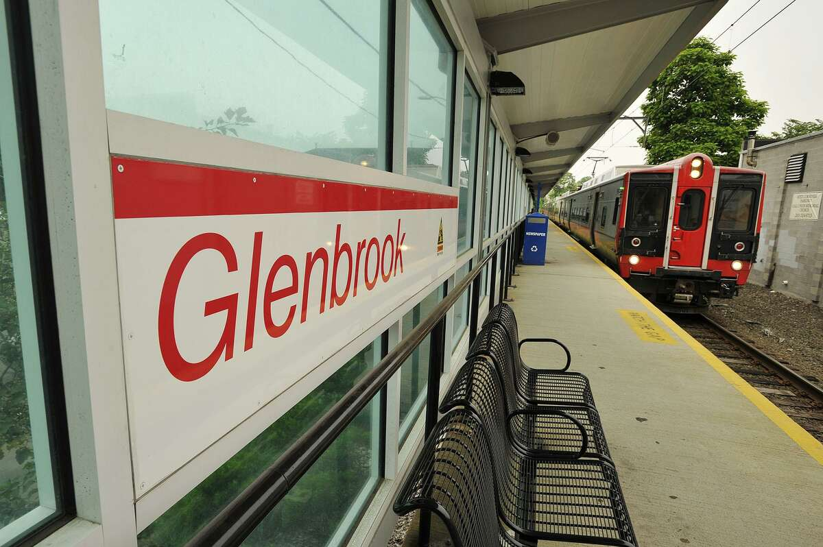 A Metro-North train arrives at the Glenbrook train station in Stamford. The neighborhood station will get new flower bed boxes thanks to a grant from the city.