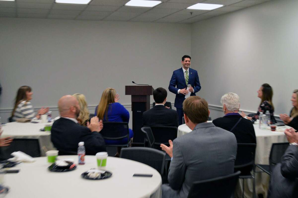 Members of the Lake Houston Area Chamber of Commerce listen to Speaker of the House Paul Ryan during their 2018 legislative trip to Washington, DC.