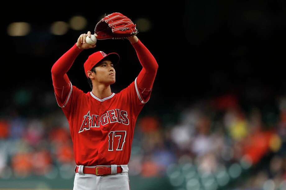 Shohei Ohtani takes a moment between pitches during the first inning of his start Tuesday. Photo: Karen Warren / © 2018 Houston Chronicle