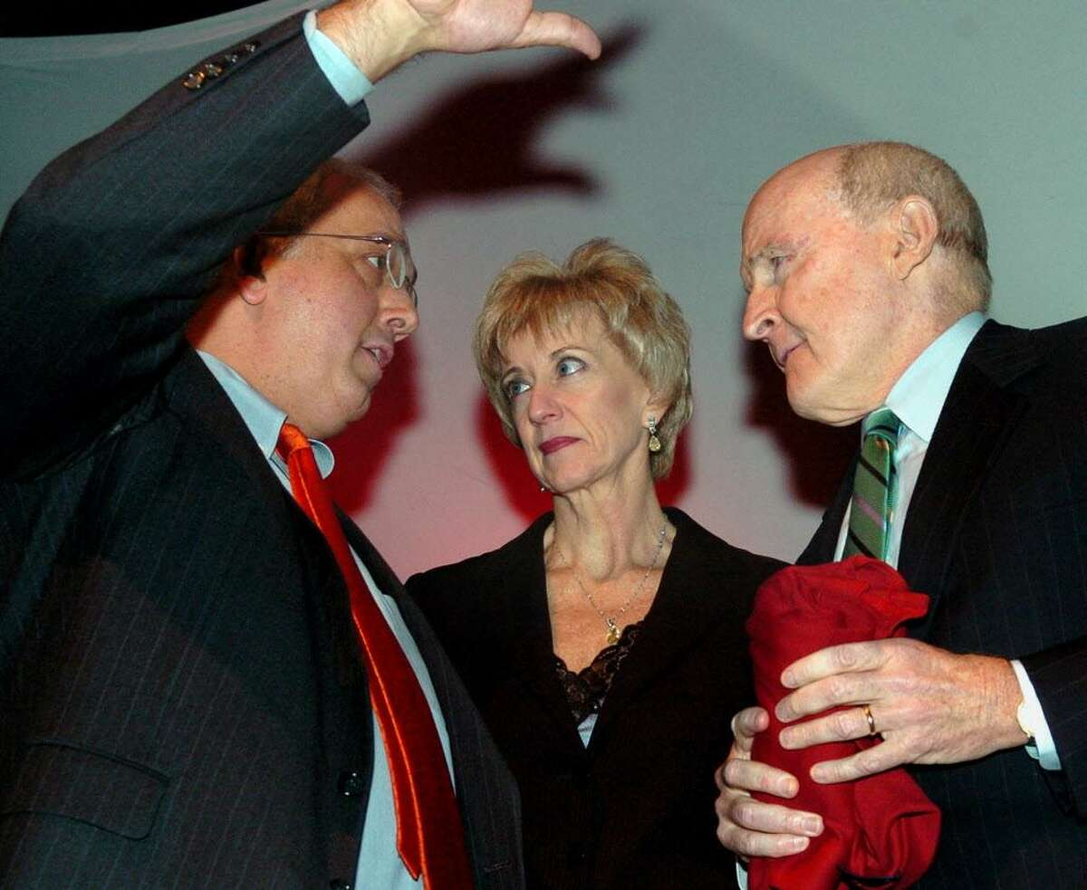 FILE PHOTO -- 1/25/05 --Dr. Anthony J. Cernera, president of Sacred Heart University, Linda E. McMahon, chief executive officer and co-founder of World Wrestling Entertainment, Inc. and Sacred Heart University trustee, and John F.