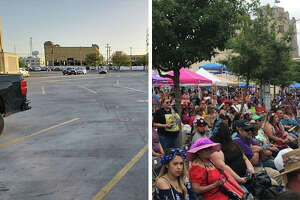 Before and after photos show how Battle of Flowers transforms empty downtown streets.
