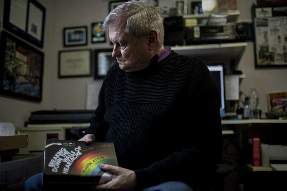 JD Doyle talks about his work collecting the obituaries of thousands of gay men who died of AIDS, Friday, Jan. 26, 2018, in Houston.  ( Jon Shapley / Houston Chronicle ) Photo: Jon Shapley, Houston Chronicle / Houston Chronicle / © 2017 Houston Chronicle