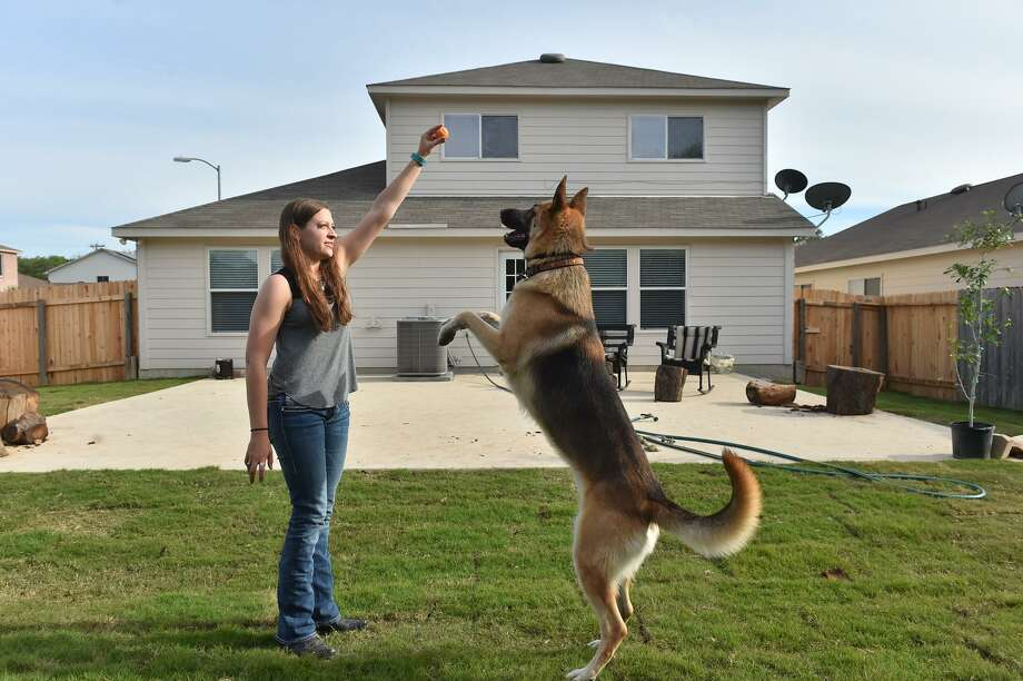 Bailey Hallburg in her new home with her German Shepherd CoJo. New homeowner, Hallburg managed to lock down her home after making offers on two others but missing out because their owners were flooded with offers. Photo: Robin Jerstad /For The San Antonio Express-News / ROBERT JERSTAD
