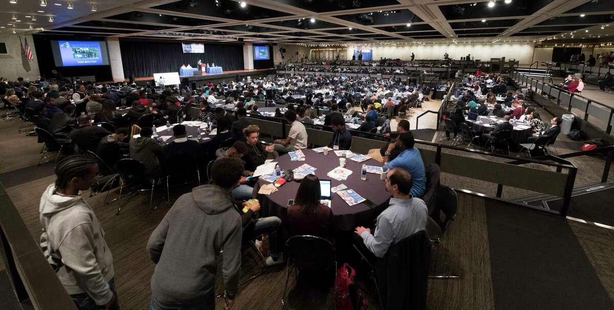 """A large number of attendees were on hand for the New York State My Brother's Keeper Symposium held in the Rockefeller Plaza Convention Center on Friday, April 26, 2018, in Albany, N.Y. According to the New York State Department of Education, """"The MBK Symposium presents an opportunity for individuals from various constituencies to share best practices and strategize on solutions to critical issues impacting students, particularly boys and young men of color"""". (Skip Dickstein/Times Union)"""