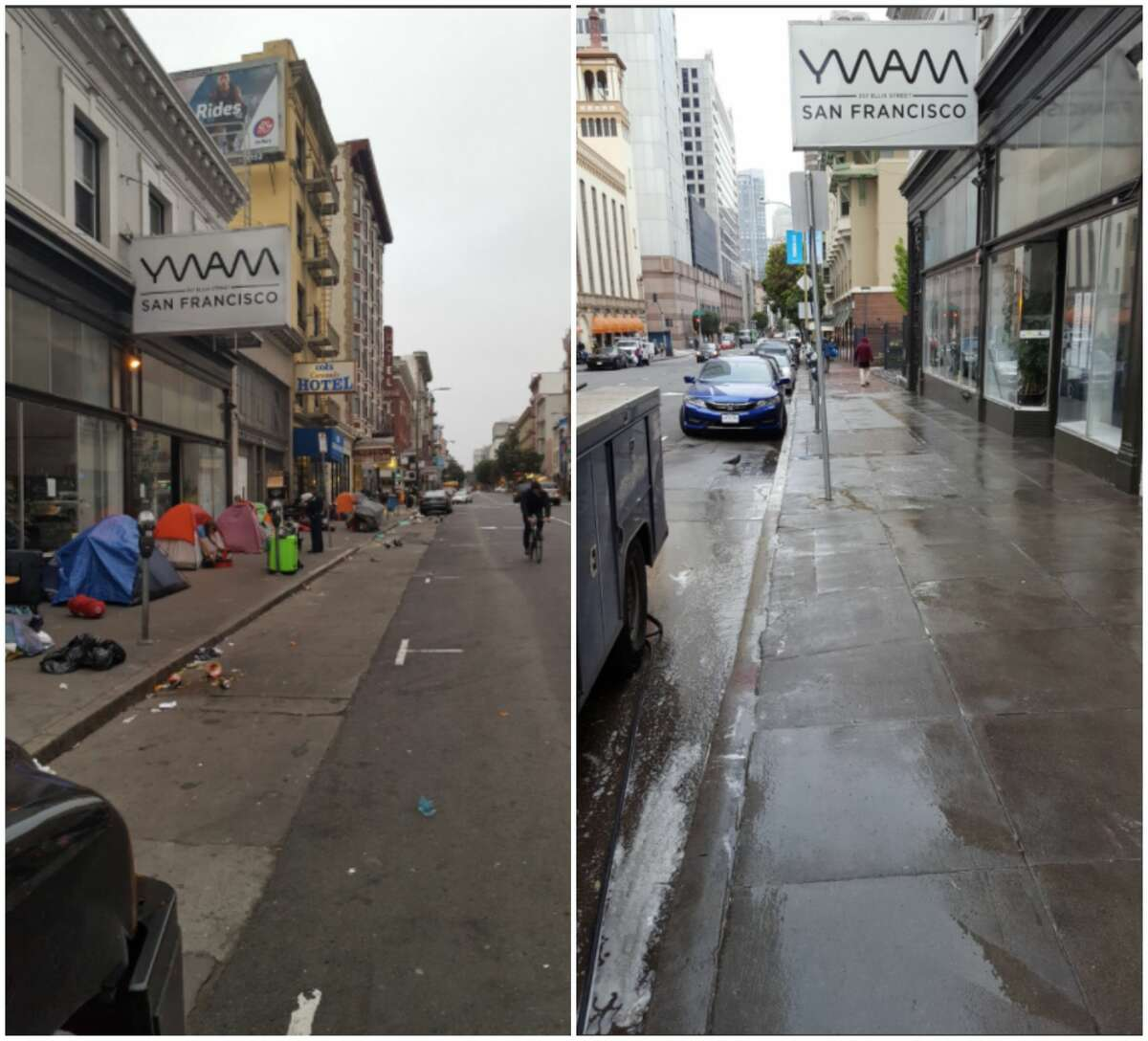 SFPD's Tenderloin station shared before-and-after images of a tent removal in the Tenderloin on April 25, 2018.Despite high-profile sweeps throughout the past year, sit-lie and improper lodging tickets have actually been trending down in recent years.