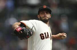 San Francisco Giants pitcher Andrew Suarez works against the Arizona Diamondbacks in the first inning of a baseball game Wednesday, April 11, 2018, in San Francisco. (AP Photo/Ben Margot)