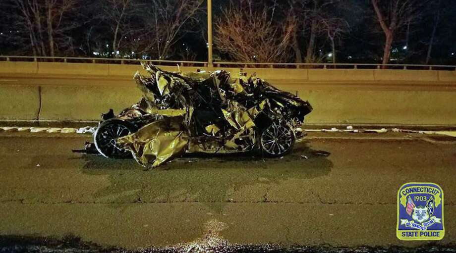 A Toyota Corolla involved in a crash on Interstate 95 in West Haven, Conn., on April 24, 2018. Photo: Contributed Photo / Connecticut State Police / Contributed Photo / Connecticut Post Contributed