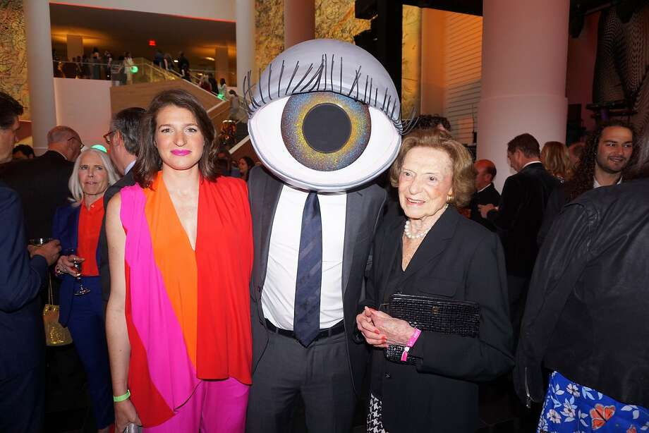 Lexie Fisher George (left) with her Surrealist husband, Mark George, and arts patron grandmother Doris Fisher at the SFMOMA Modern Ball. April 25, 2018. Photo: Catherine Bigelow / Special To The Chronicle