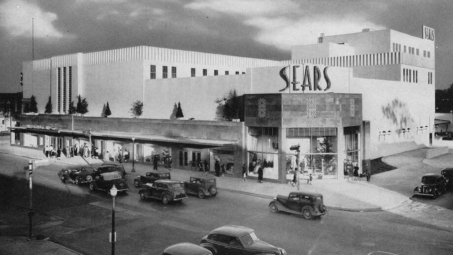 Sears, shown here in 1940, had a sky-high sign then, as now. Photo: Preservation Houston