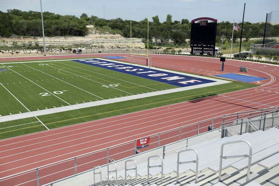 The football field at Cornerstone Christian School's new NW Military Highway location north of Loop 1604 is seen Wednesday, April 25, 2018. Photo: William Luther /Staff Photographer / © 2018 San Antonio Express-News
