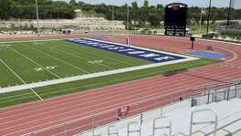 The football field at Cornerstone Christian School's new NW Military Highway location north of Loop 1604 is seen Wednesday, April 25, 2018.