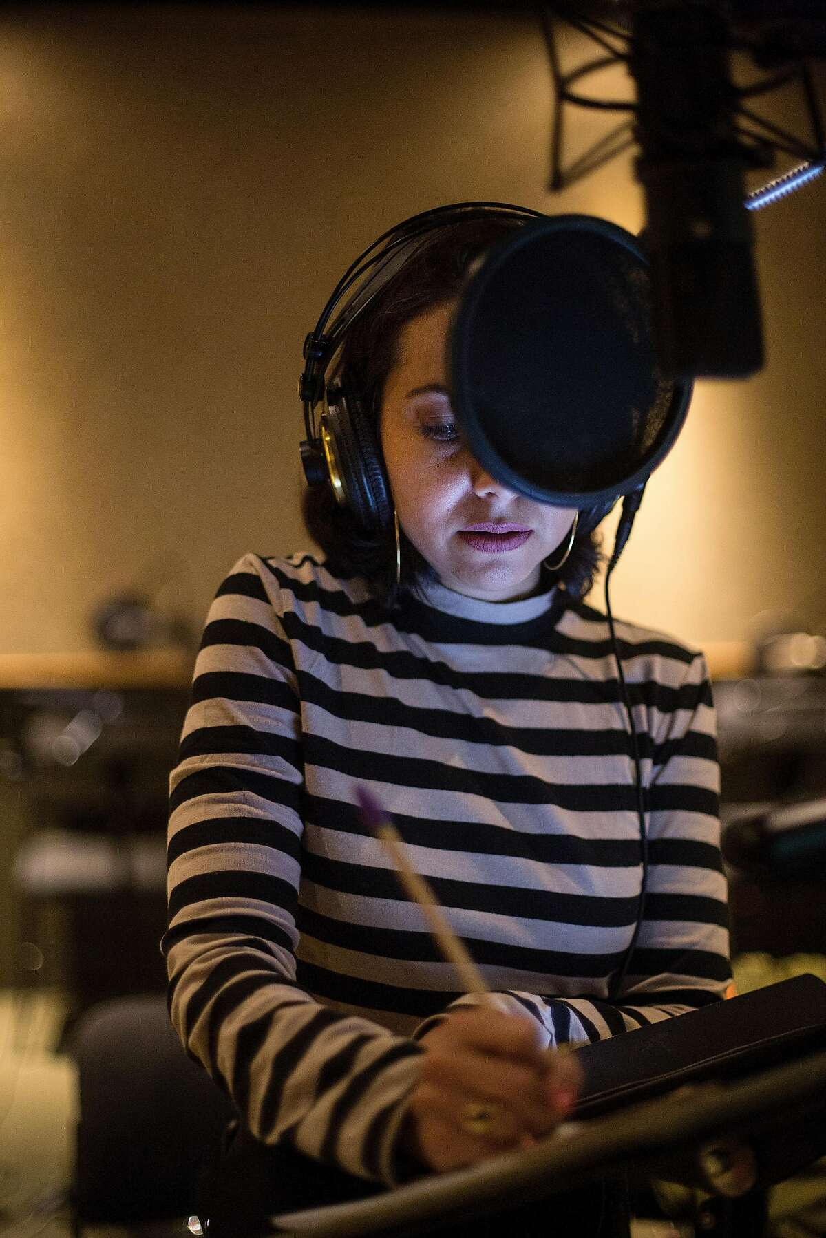 Actress Kathreen Khavari records the voiceover for Ms. Marvel, who is Marvel Comic�s and Marvel Entertainment�s first Muslim superhero, on April 19, 2018, in Los Angeles, Calif. Khavari, a first generation American whose parents are immigrants from Iran, is fighting for Middle Eastern representation in Hollywood.