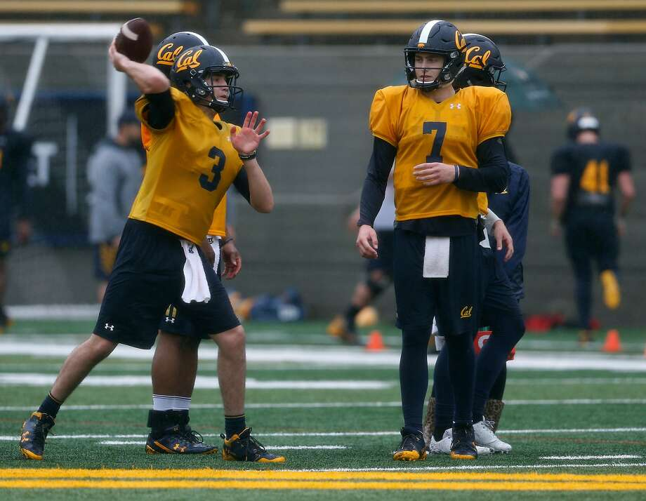 Ross Bowers, left, seems to have the inside track over Chase Garbers, right, and several others in the battle for Cal's starting quarterback job. Photo: Paul Chinn / The Chronicle