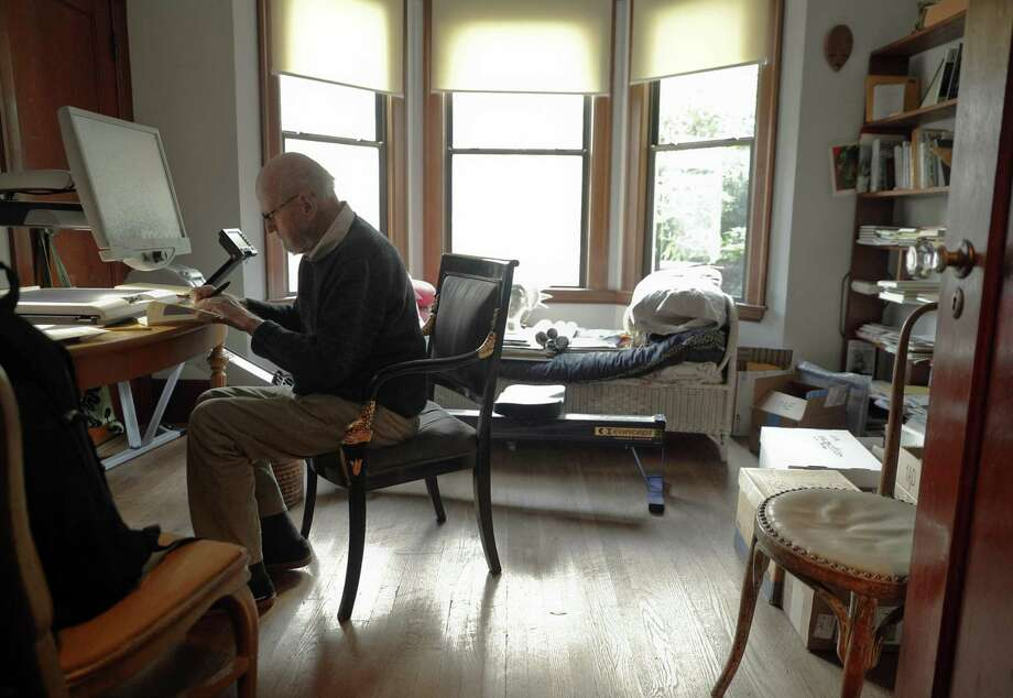 Poet Lawrence Ferlinghetti, who just turned 99, spends quiet time at his home in San Francisco. Poetry can make you meander through an Italian piazza or put you on an emotional rollercoaster speeding through the dark and heavy realities no one discusses out loud. Photo: Carlos Avila Gonzalez /The Chronicle / ONLINE_YES