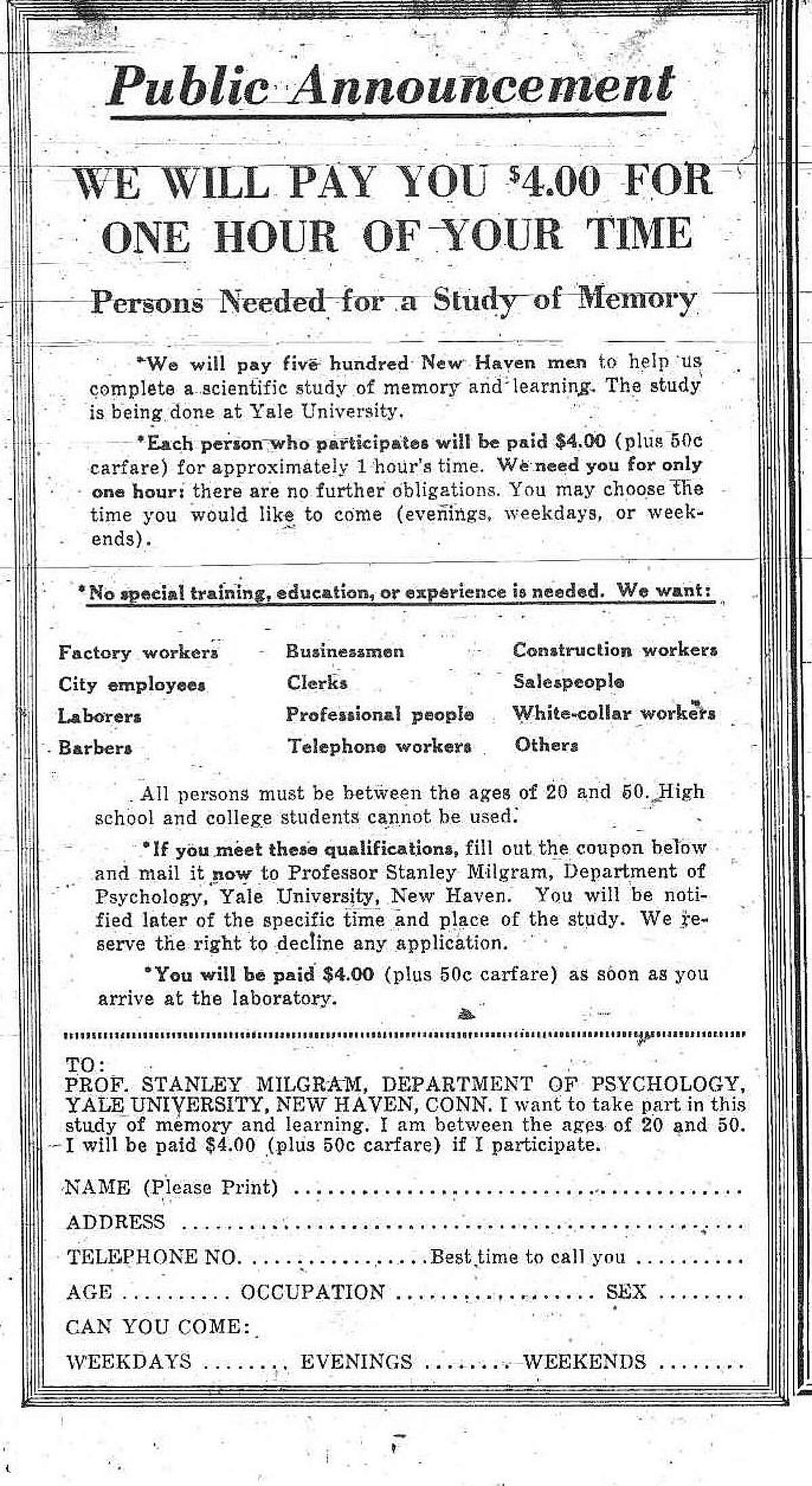 This advertisement ran in the New Haven Register on June 18, 1961.